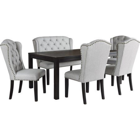 6-Piece Dining Set with Upholstered Bench