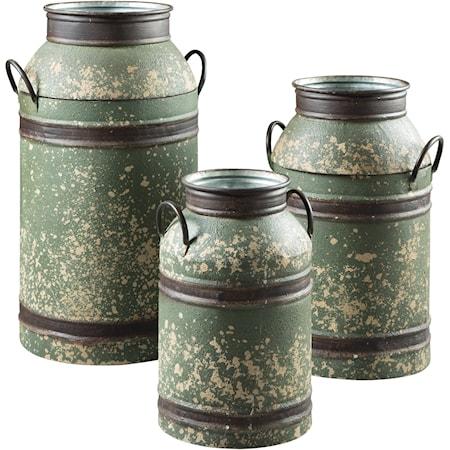 Elke Antique Green/Brown Milk Can Set