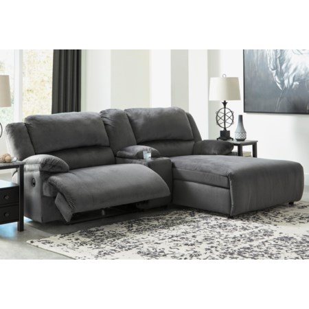 Power Recl. Sectional w/ Chaise & Console
