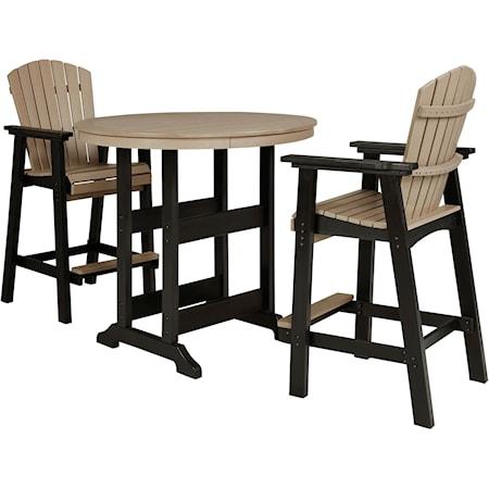 3-Piece Round Bar Table Set