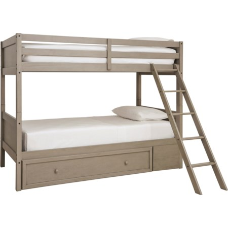 Twin/Twin Bunk Bed w/ Ladder & Storage