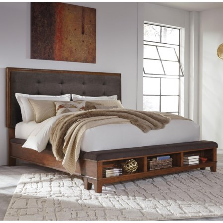 Queen Upholstered Bed with Storage Footboard