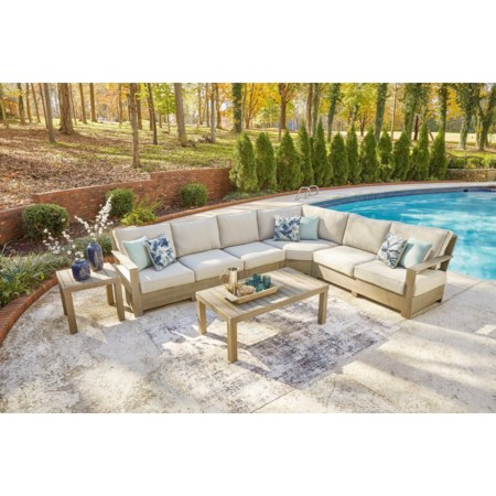 Outdoor Sectional Set with Tables