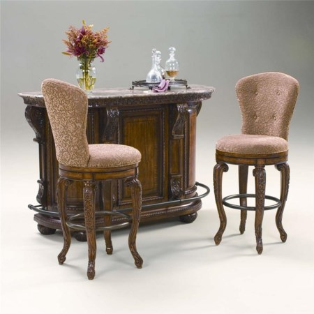 Marble Top Server with 24 inch Swivel  Bar Stools