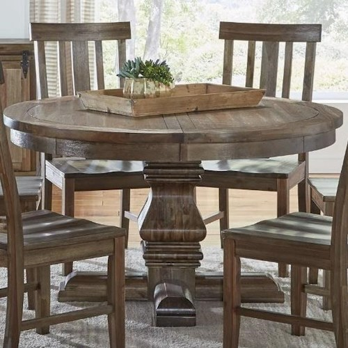Aamerica dawson 48 round pedestal table wilson 39 s for Dining room tables 48 round