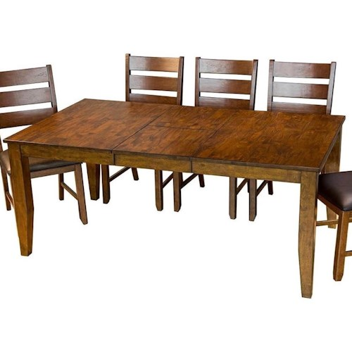 Aamerica mason rectangular butterfly leaf dining table for Rectangular dining room tables with leaves