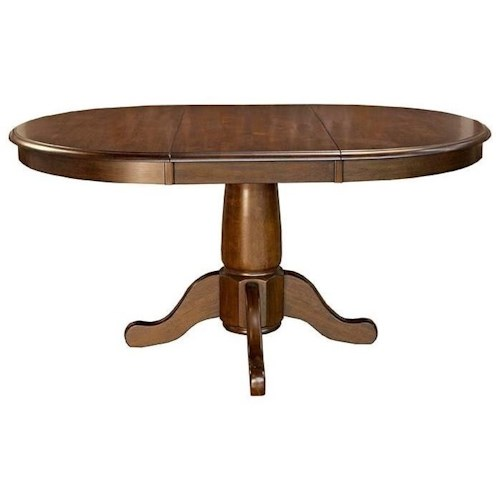 AAmerica Roanoke Oval Single Pedestal Dining Table With Extension Leaf Ways