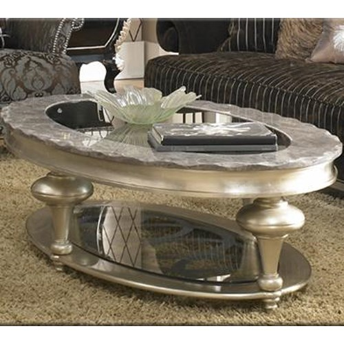 Hollywood Swank Oval Coffee Table W Glass Insert Dream Home Furniture Cocktail Coffee Table