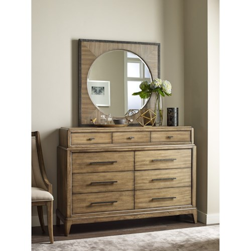 american drew evoke bureau and round mirror with square frame northeast factory direct. Black Bedroom Furniture Sets. Home Design Ideas