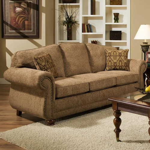 Traditional sofa with with nail head trim 6000 by for American home furniture couches