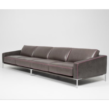 Contemporary 4-Seat Sofa with Metal Legs