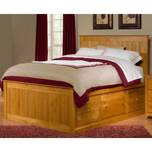 Archbold furniture alder shaker queen flat panel chest bed for Shaker bed plans