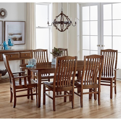 Artisan post simply dining 7 piece solid cherry kitchen for Kitchen table set 7 piece