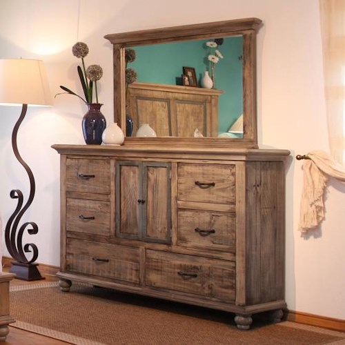 Artisan home praga dresser and mirror set suburban for Furniture 0 percent financing