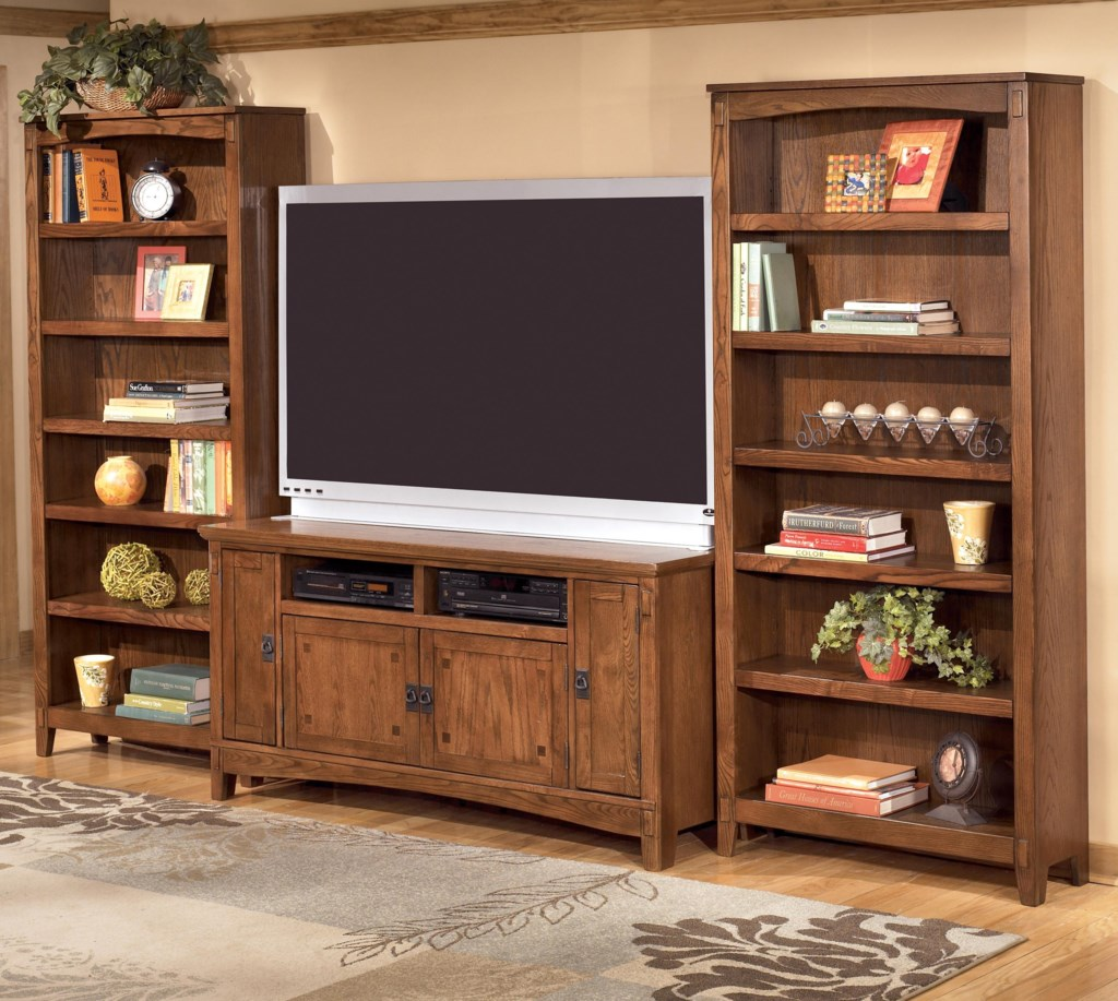 Greatest Ashley Furniture Cross Island 60 Inch TV Stand & 2 Large Bookcases  QD51