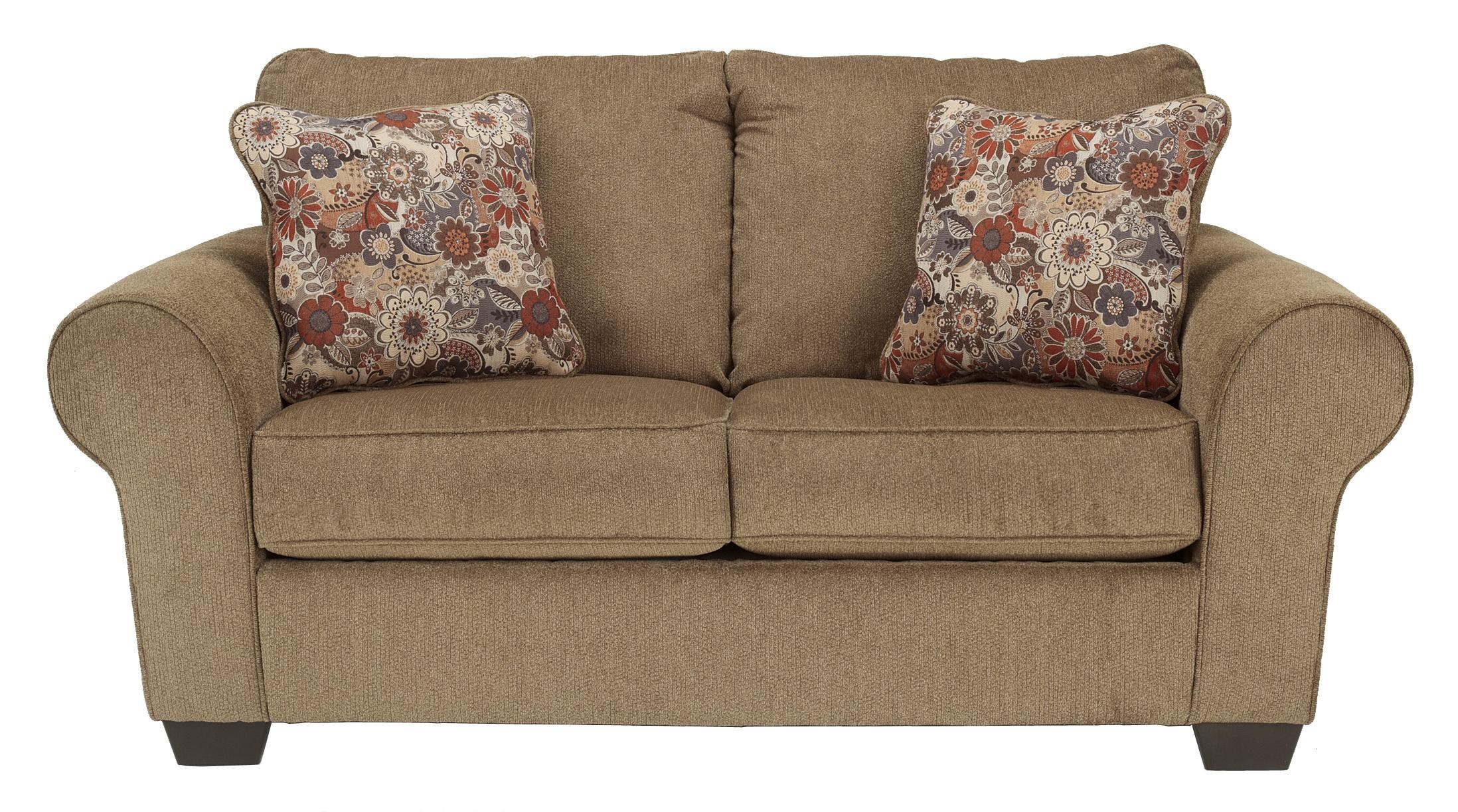 Galand Umber Loveseat with Rolled Arms Walker s