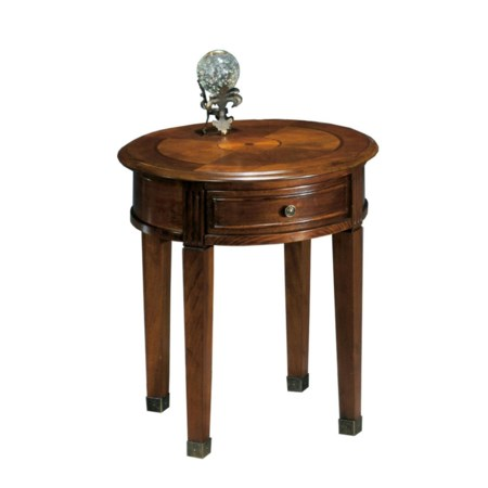 Traditional Drawer Round End Table