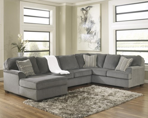 Ashley furniture loric smoke contemporary 3 piece for Furniture 0 percent financing