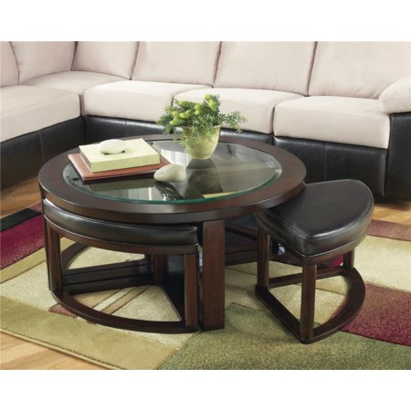 Glass Round Cocktail Table w/ 4 Backless Stools