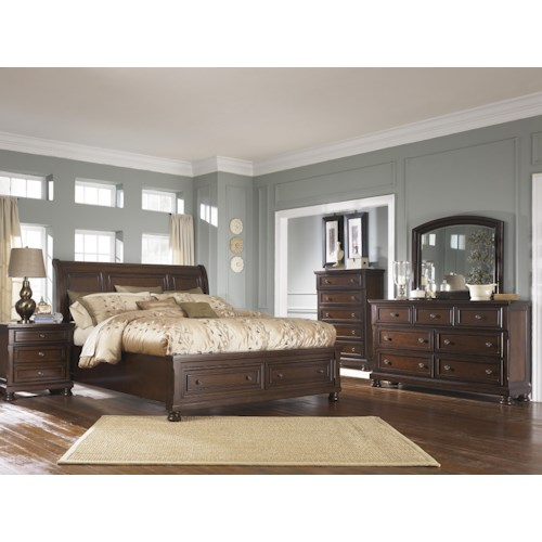 Ashley furniture porter queen bedroom group wayside for Bedroom furniture groups