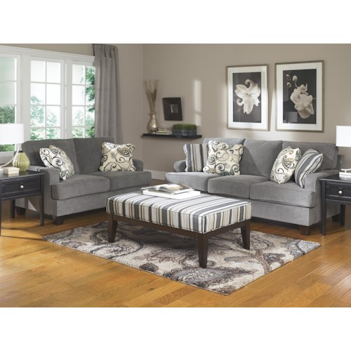 Ashley furniture yvette steel stationary living room for L fish furniture indianapolis