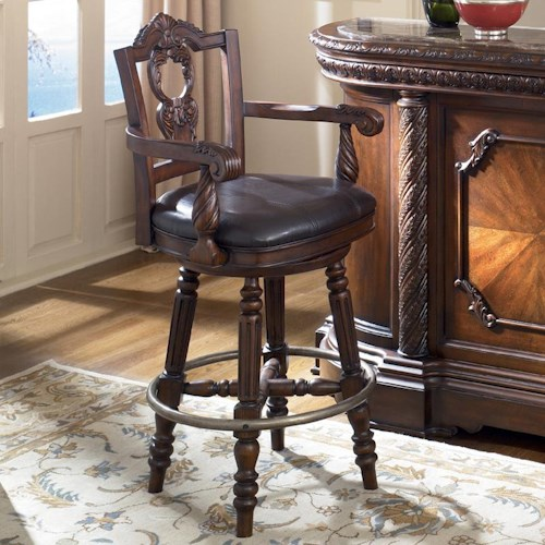 Old World 30 Inch Swivel Bar Stool With Faux Leather Upholstered Seat Rotmans Bar Stools