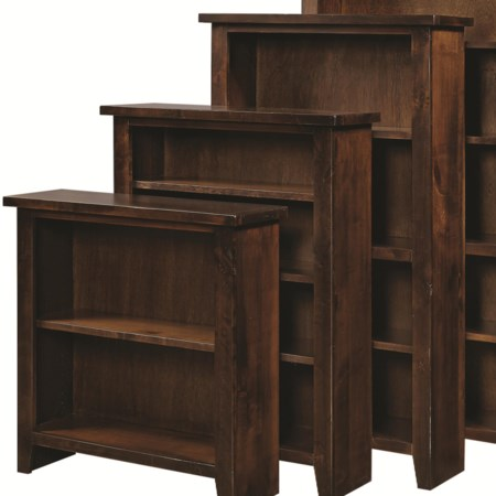 Open Bookcase with Fixed and Adjustable Shelves