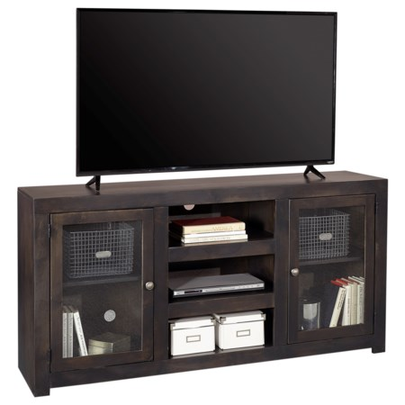 """Contemporary 65"""" TV Console with Glass Cabinets and Cord Access Holes"""