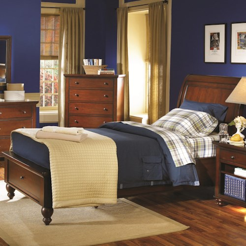 Aspenhome cambridge full size bed with sleigh headboard drawer storage footboard walker 39 s for Full size sleigh bedroom sets