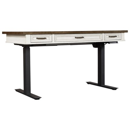 Casual Lift Top Desk with Drop Front Center Drawer and Adjustable Base