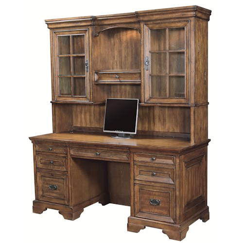Kneehole Credenza And 3 Way Light Display Hutch