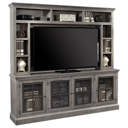 """Casual 84"""" TV Console and Hutch with 4 Doors"""