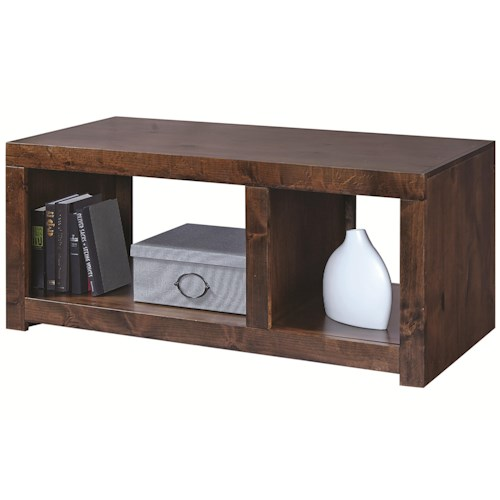Aspenhome Contemporary Alder Cocktail Table With 2 Open Compartments Belfort Furniture