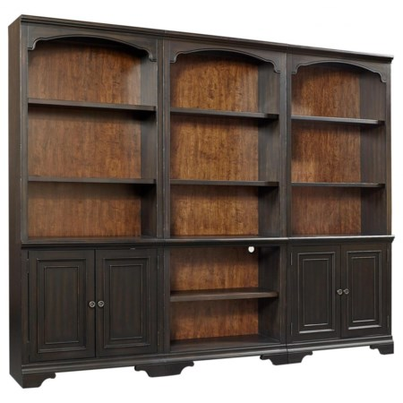 Transitional Bookcase Wall with Adjustable/Removable Shelving