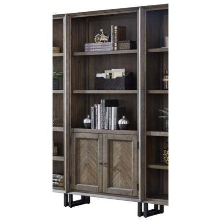 Contemporary Bookcase with Concealed Storage and Adjustable Shelves