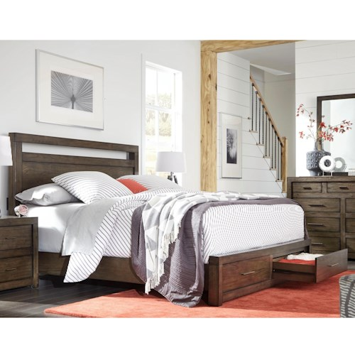 Aspenhome Modern Loft Queen Panel Storage Bed With Usb Charging Outlets Bullard Furniture