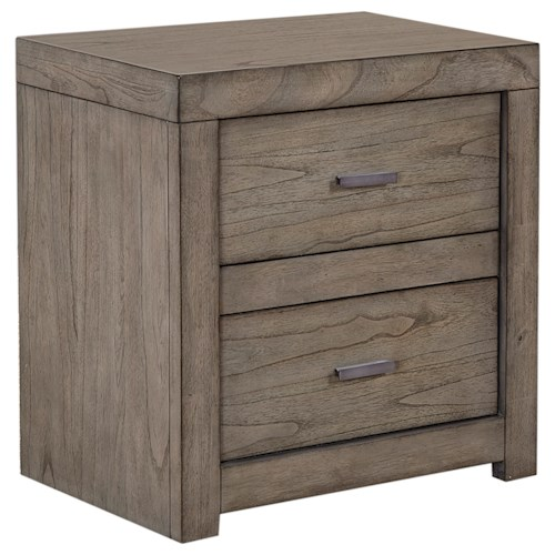 Aspenhome Modern Loft 2 Drawer Nightstand With 2 Ac Outlets Pilgrim Furniture City Night Stands