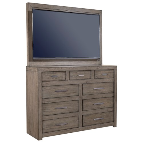 Aspenhome Modern Loft Media Chest With TV Mount And Drop