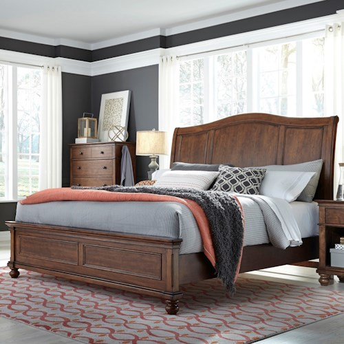 Aspenhome Oxford Transitional King Sleigh Bed With Usb Ports Belfort Furniture Sleigh Beds