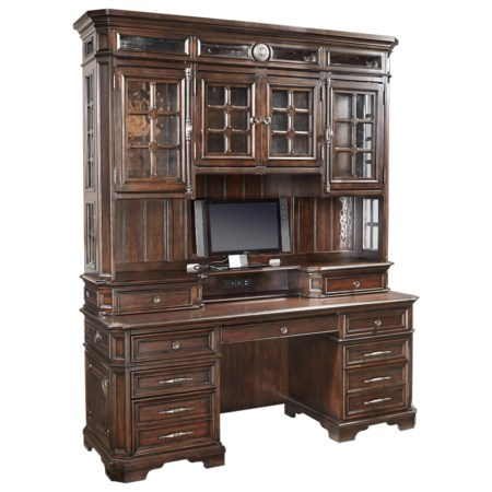 """Traditional 75"""" Credenza Desk with LED Lighting and Electrical Outlets"""