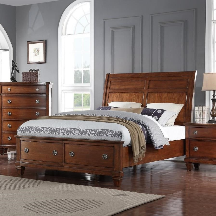 Avalon Furniture B068 Queen Storage Bed with Sleigh