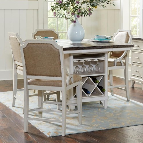 5 piece kitchen island table set mystic cay by avalon for Breakfast island set