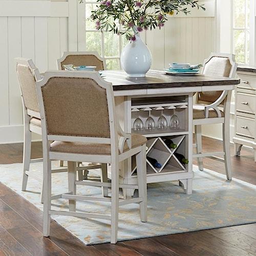 Avalon Furniture Mystic Cay 5 Piece Kitchen Island Table Set Pilgrim Furnit