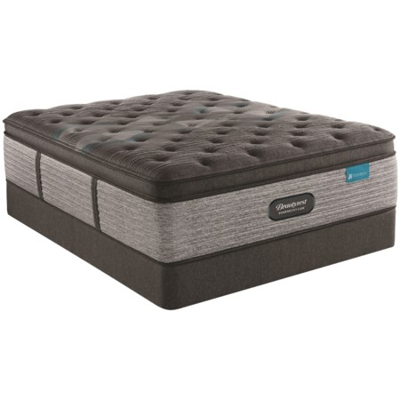 "King 17 1/4"" Medium Pillow Top Premium Pocketed Coil Mattress and 9"" Foundation"