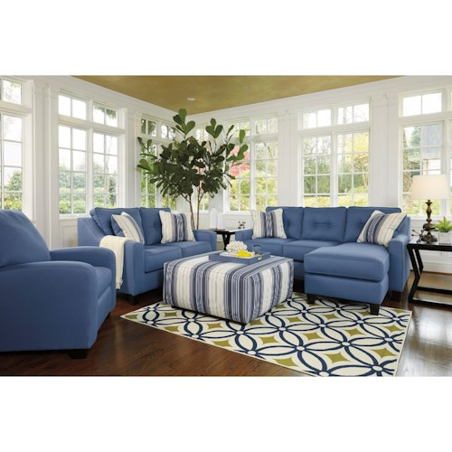 Benchcraft aldie nuvella stationary living room group for Living room furniture groups