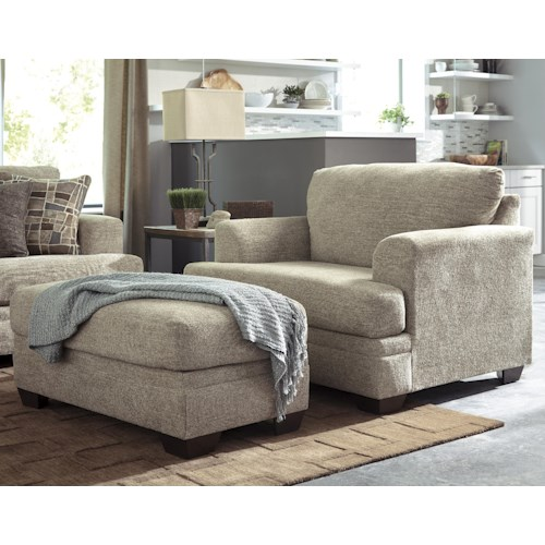 Benchcraft Barrish Contemporary Chair And A Half Ottoman Value City Furniture Chair Ottoman