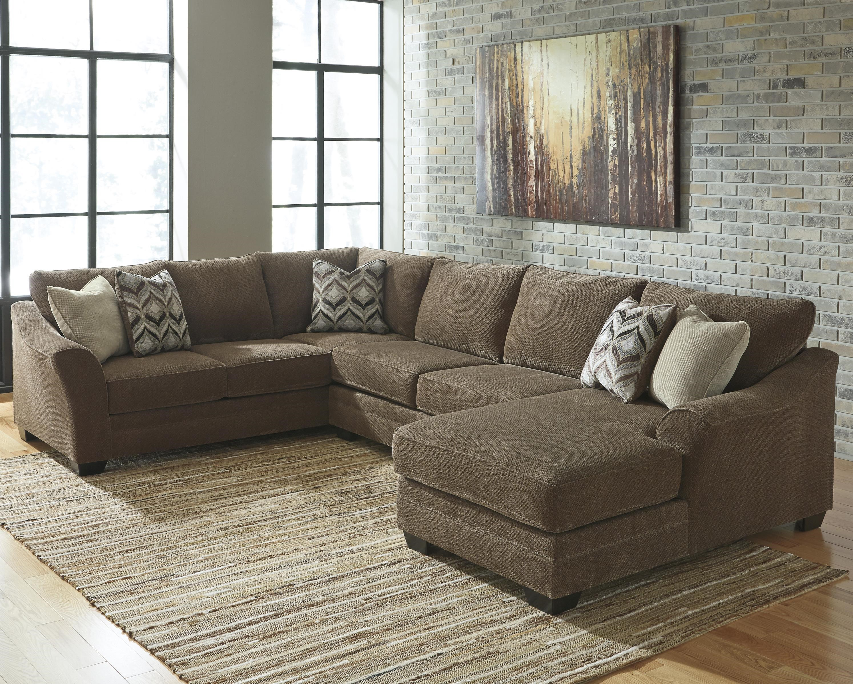 contemporary piece sectional right chaise 3 modern grey microfiber reversible sofa with large ottoman bobkona poundex simplistic collection charcoal