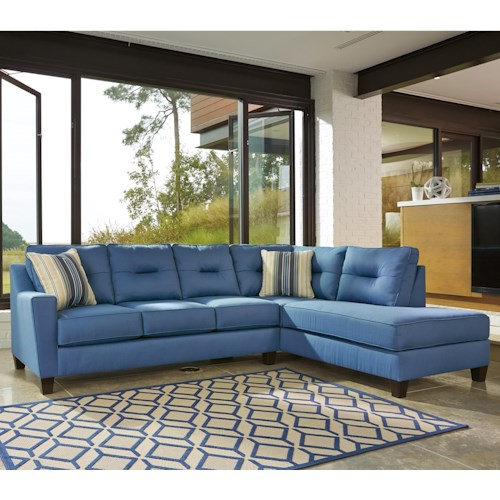 Benchcraft kirwin nuvella sectional with sleeper sofa for Navy blue sectional sofa canada