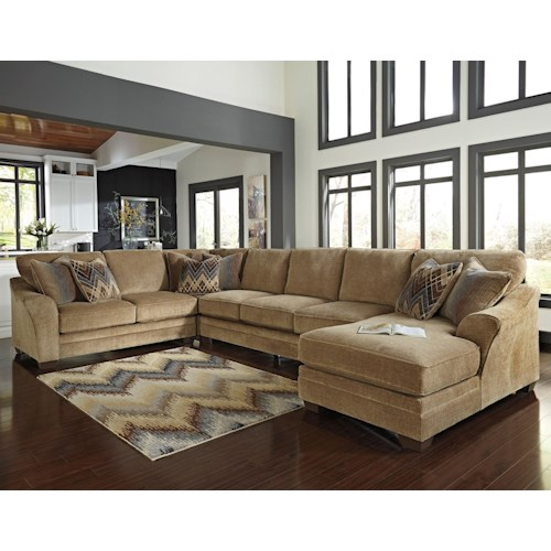 Benchcraft lonsdale contemporary 4 piece sectional w for Furniture 500 companies