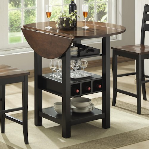 Wine Rack Dining Table: Bernards Ridgewood Drop Leaf Pub Table With Wine Rack